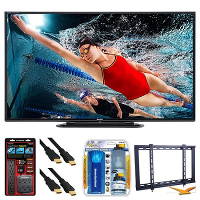 LC-70LE757U Aquos 70` 3D WiFi 240Hz 1080p LED TV Wall Mount Bundle