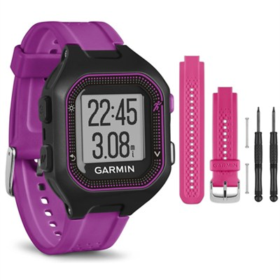 Forerunner 25 GPS Fitness Watch - Small - Black/Purple - Pink Band Bundle