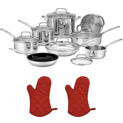 77-14N Chef's Classic Stainless 14-Piece Set, Stainless Steel w/2 Oven Mitts