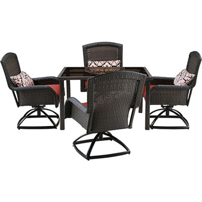 Strathmere 5pc Dining Set: 4 Swivel Chairs 1 Sq. Woven Tbl w/Glass Top