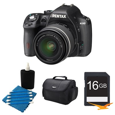 K-50 Black w/ 18-55mm Lens 16MP Digital SLR Camera Kit 16GB Bundle