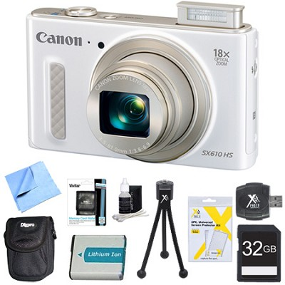 PowerShot SX610 HS 20.2MP Digital Camera 18x Zoom 3` LCD White 32GB Super Bundle