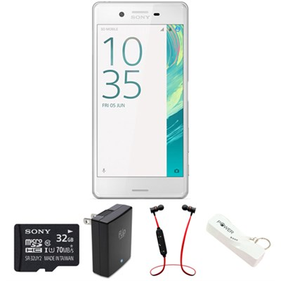 Xperia X 32GB 5-inch Smartphone, Unlocked - White w/ Headphone Bundle