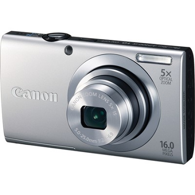 PowerShot A2400 IS 16MP Silver Digital Camera 5x Optical Zoom 720p HD Video
