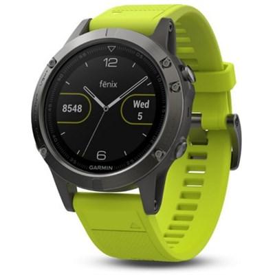 Fenix 5 Multisport 47mm GPS Watch - Slate Gray with Amp Yellow Band