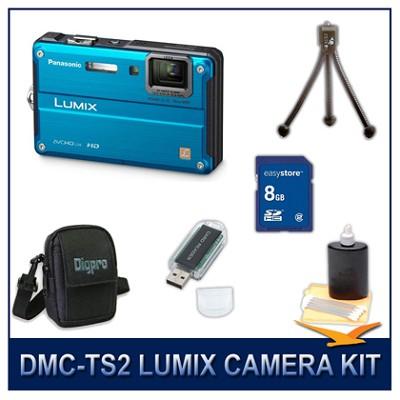DMC-TS2A LUMIX 14.1MP Digital Camera (Blue), 8GB SD Card, and Camera Case