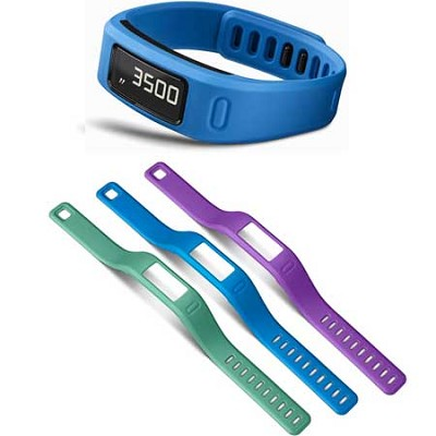 Vivofit Bluetooth Fitness Band (Blue) (010-01225-04) with 3 Extra Bands (small)