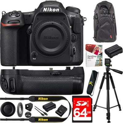D500 DSLR 4K Camera Body w/ Nikon MB-D17 Battery Pack 64GB Card, Tripod Bundle
