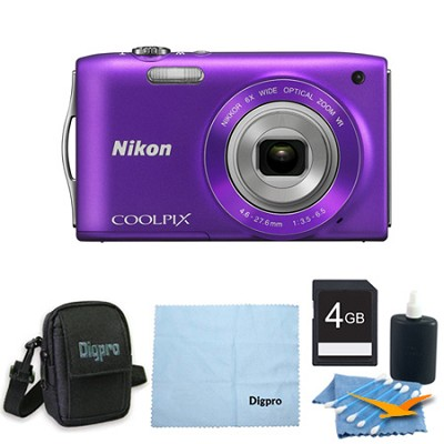 COOLPIX S3300 16MP 6x Opt Zoom 2.7 LCD 4GB Purple Bundle