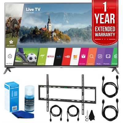 LG 75` UHD 4K HDR Smart LED HDTV (2017 Model) w/ Extended Warranty Bundle