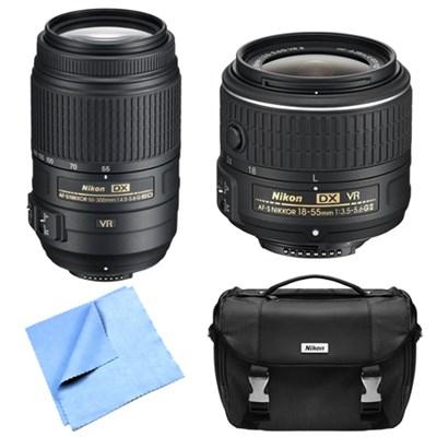 AF-S NIKKOR 55-300mm Zoom Lens + AF-S DX NIKKOR 18-55mm Lens Refurbished Bundle