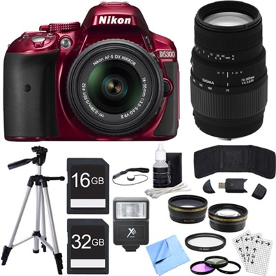 D5300 DX-Format Digital SLR Camera Kit w/ 18-55mm + 70-300mm Lens Red Bundle