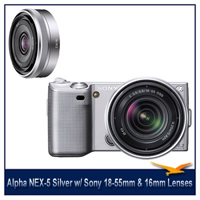 Alpha NEX-5 Interchangeable Lens Silver Camera w/ 18-55mm & 16mm f/2.8 Lenses