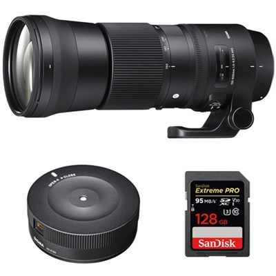 150-600mm F5-6.3 DG OS HSM Zoom Lens for Nikon + USB Dock + 128GB Memory Card