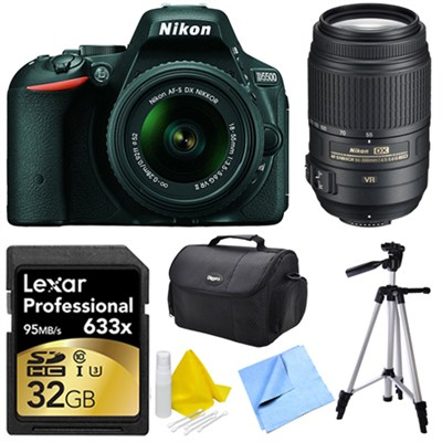 D5500 Black DSLR Camera 18-55mm Lens, 55-300 Lens, 32GB, and Cleaner Bundle