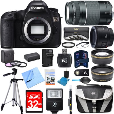 EOS 5DS 50.6MP Digital SLR Camera w/ 50mm + 75-300mm Lens Super Bundle