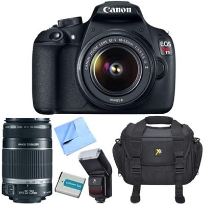 EOS Rebel T5 18MP DSLR Camera w/ 18-55mm + 55-250mm STM Lens Flash Bundle