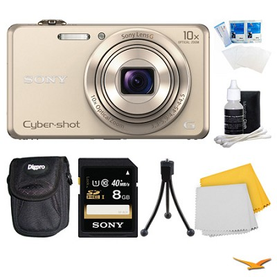 DSC-WX220 Gold Digital Camera, 8GB Card, and Case Bundle