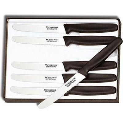 Cutlery 6-Piece 4-1/2` Wavy Edge with Round Tip Steak Knife Set