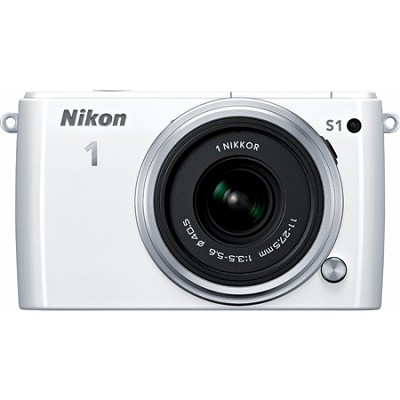 1 S1 10.1MP White Digital Camera with 11-27.5mm Lens Factory Refurbished