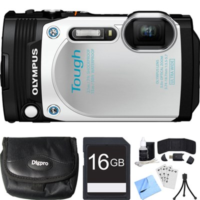 TG-870 Tough Waterproof 16MP White Digital Camera 16GB SDHC Memory Card Bundle