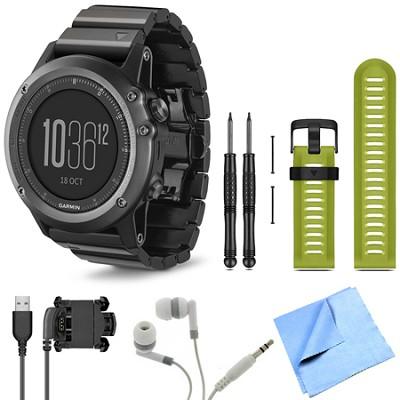fenix 3 Multisport Training Sapphire GPS Watch Green Band Bundle