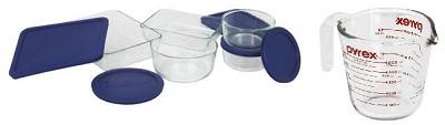 Storage 10-Piece Set, Clear with Blue Lids + Bonus Prepware 2-Cup Measuring Cup