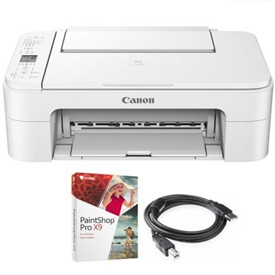 PIXMA TS3120 Wireless Printer with AirPrint White + Paint Shop Bundle