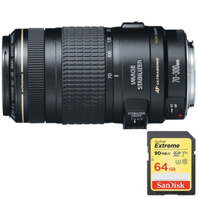 EF 70-300mm F/4-5.6 IS USM Lens w/ Lexar 64GB Memory Card