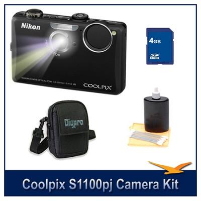 COOLPIX S1100pj Black Digital Camera Kit w/ 4 GB Memory, Case, & More