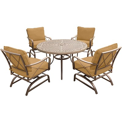 Summer Nights 5PC Dining Set: 4 Steel Rockers with 48  Cast Table