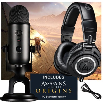 BLUE MICROPHONES Blackout Yeti w/ Assassin's Creed Origins + Audio-Technica Studio Headphone + $25 Gift Card