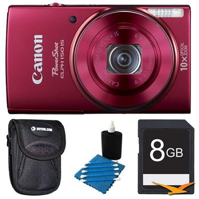 PowerShot ELPH 150 IS 20MP 10x Opt Zoom Digital Camera Red Kit