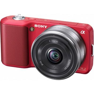 Alpha NEX-3 Interchangeable Lens Red Digital Camera w/ 16mm Lens