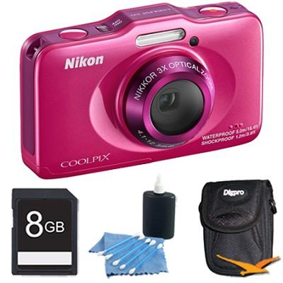 COOLPIX S31 10.1MP 720p HD Video Waterproof Digital Camera - Pink Plus 8GB Kit