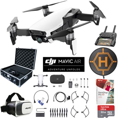 Mavic Air Arctic White Drone Pro Photo Edit Kit Case VR Goggles Landing Pad 32GB