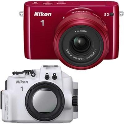 1 S2 Mirrorless Red Digital Camera w/ 11-27.5mm Lens Waterproof Housing Bundle
