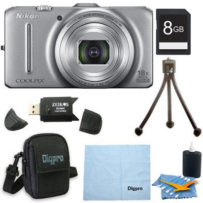 COOLPIX S9300 16MP 18x Opt Zoom 3.0 LCD Digital Camera 8GB Silver Bundle