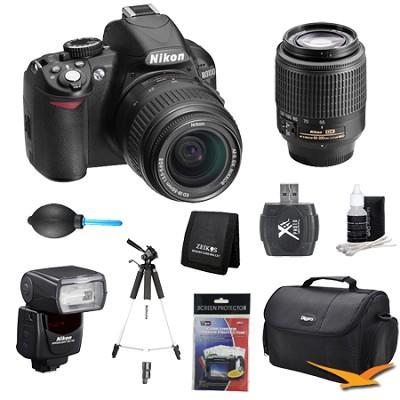 D3100 14MP DX-format Digital SLR w/ 18-55mm, 55-200mm and Flash Lens Kit