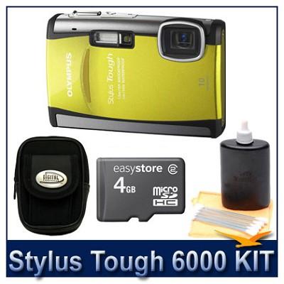 Stylus Tough 6000 10MP 2.7` LCD Digital Camera (Yellow) Super Savings Kit