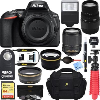 D5600 24.2 MP DSLR Camera w/ AF-S 18-140mm ED VR & Sigma 70-300mm Macro Lens Kit