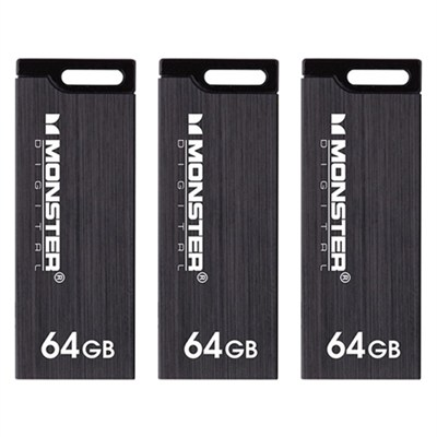 64GB USB 3.0 Super Speed Colors Drive (Metallic Black) 3-Pack Bundle