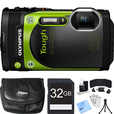 TG-870 Tough Waterproof 16MP Green Digital Camera 32GB SDHC Memory Card Bundle