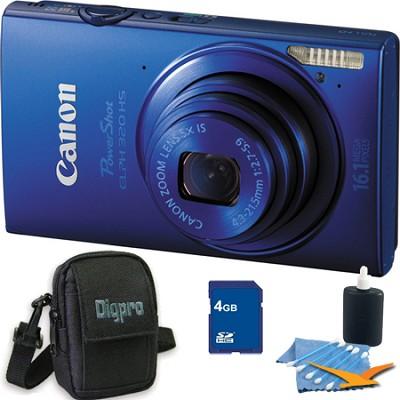 PowerShot ELPH 320 HS 16MP Blue Digital Camera 4GB Bundle