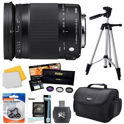 18-300mm F3.5-6.3 DC Macro OS HSM Lens (Contemporary)for Nikon DX Cameras Bundle