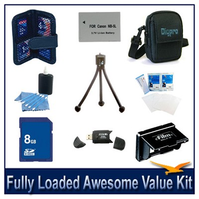 Fully loaded Awesome Value Kit for Canon SX200,SX210 and SD970