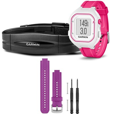 Forerunner 25 GPS Fitness Watch w/ Heart Rate Monitor Small Pink - Purple Bundle