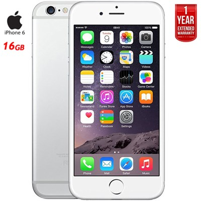 iPhone 6, Silver, 16GB, Unlocked Carrier Refurbished + 1 Year Extended Warranty