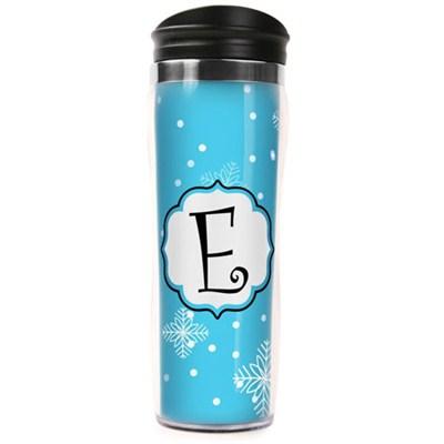 Letter `E` Travel Mug Tumbler (14oz) - Blue