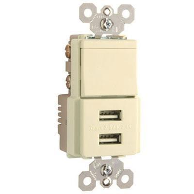 PS USB Sngle Pole 3Way Almnd